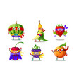 set superhero humanized characters fruits and vector image vector image