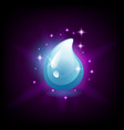 shiny blue water drop icon for slot machine game vector image vector image