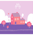 spring landscape with cozy house fields vector image vector image