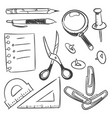 stationery sketch set - scissors pencil pen button vector image
