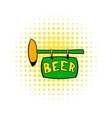 Street signboard of pub icon comics style vector image