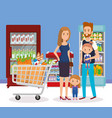 supermarket shelvings with family buying vector image