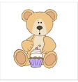 Teddy bear with cup cake vector image vector image