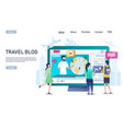 travel blog website landing page design vector image vector image