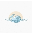 Vintage thin line whale vector image