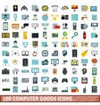 100 computer goods icons set flat style vector image vector image
