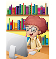 A smart boy in the library vector image vector image
