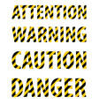 attention caution danger warning text from striped vector image