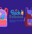 back to school poster with schoolchild rucksack vector image vector image