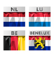Benelux countries flags vector image vector image