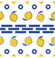 blue and white lemon mediterranean seamless tile vector image vector image