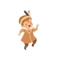 boy wearing native indian costume and headdress vector image vector image