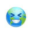 cartoon earth face laughing icon funny planet vector image vector image