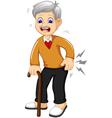 cartoon old grandfather was lumbago vector image vector image