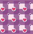 checkered with hearts in circles pattern vector image vector image
