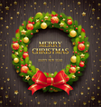Christmas decorative wreath vector image vector image