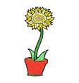 comic cartoon flower in pot vector image vector image
