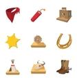 Cowboys icons set cartoon style vector image vector image
