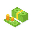 crowdfunding money pack and golden coins vector image vector image