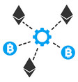 cryptocurrency network nodes flat icon vector image vector image