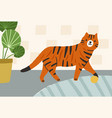 cute ginger cat playing with ball hand-drawn vector image vector image