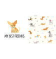 cute little dogs seamless pattern and t-shirt vector image