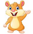 Cute mouse cartoon waving vector image vector image