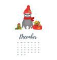 december 2019 year calendar page vector image vector image