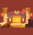 egyptian tomb dark interior vector image
