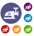 electric grinder icons set vector image vector image