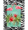 flamingo and tropical plants watercolor summer vector image vector image