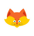 fox face isolated cute wild animal on white vector image vector image