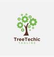 gear tree technic tree logo icon template logo vector image