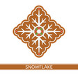 gingerbread snowflake isolated vector image vector image