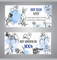 hand drawn dogs breeds gift certificate sketch of vector image