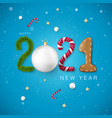 happy new year 2021 candy and christmas ball pine vector image vector image