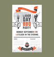 Labor day BBQ invitation card vector image vector image