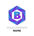 letter b logo symbol on colorful hexagonal vector image vector image