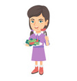 little caucasian girl eating vegetable salad vector image