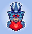 love cute cat hat vector image vector image