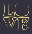 love word happy valentines day greeting card vector image