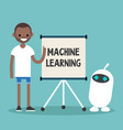 machine learning conceptual young black vector image vector image