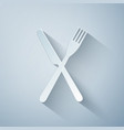 paper cut crossed fork and knife icon isolated on vector image vector image