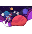 paper cut spaceman cosmonaut discoverer sets flag vector image vector image