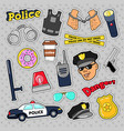 Police security stickers set with officer gun