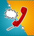 retro red phone tube in comic style with vector image