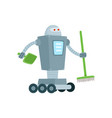robot cleaner home assistant with broom shovel vector image vector image