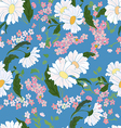 Seamless pattern with daisies blue vector image