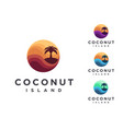 set abstract travel logo with coconut tree vector image