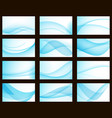 set of blue colorful wave templates blanks for vector image